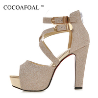 COCOAFOAL Woamn Silver Wedding Sandals Plus Size 32 43 Fashion Heel Height Sandals Party Buckle Strap