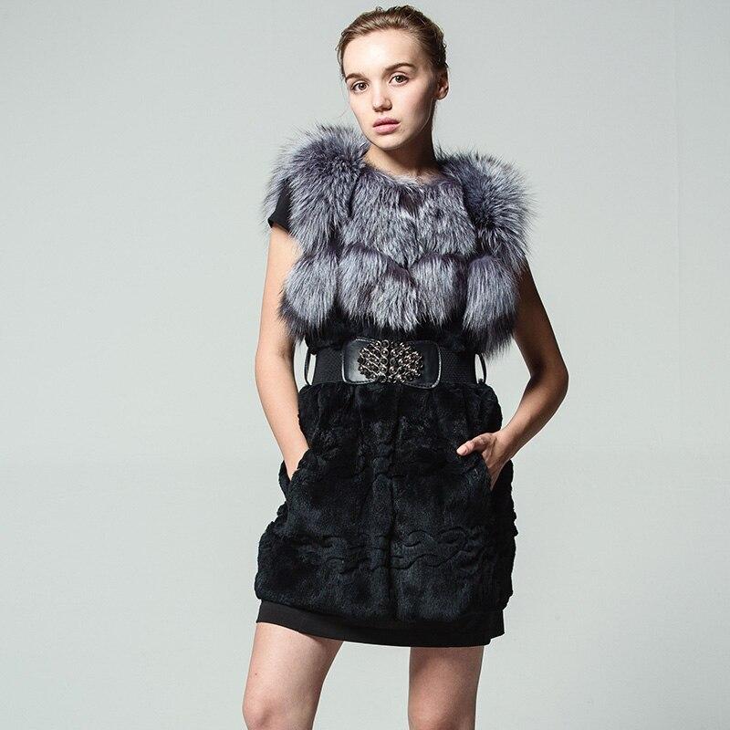 Новинка 2018 года узор натуральным кроличьим Мех животных Silver fox S без рукавов жилет с подкладкой пальто для будущих мам Тонкий Стенд воротни