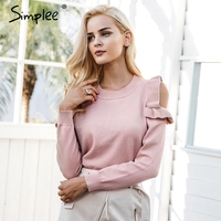Simplee Elegant Cold Shoulder Knitted Sweater Women Casual Stringy Selvedge Sweater Pullover Female Autumn Winter Jumper