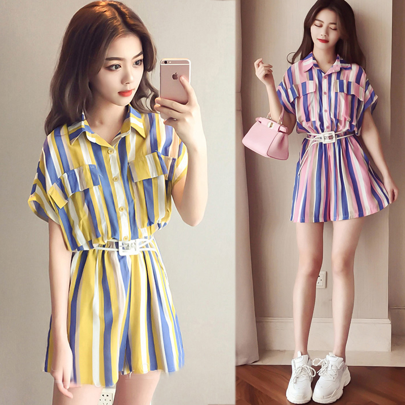 Women Jumpsuit Overalls Rompers Combishort Chiffon Striped Femme Summer Casual for Macacao