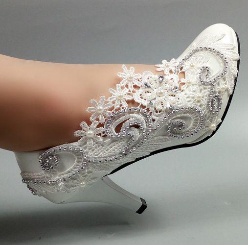 Lacets de luxe européens à la main chaussures de mariage en ivoire femme HS036 femmes dentelle fleur argent cristal plus tailles chaussures de mariées-in Escarpins femme from Chaussures    1
