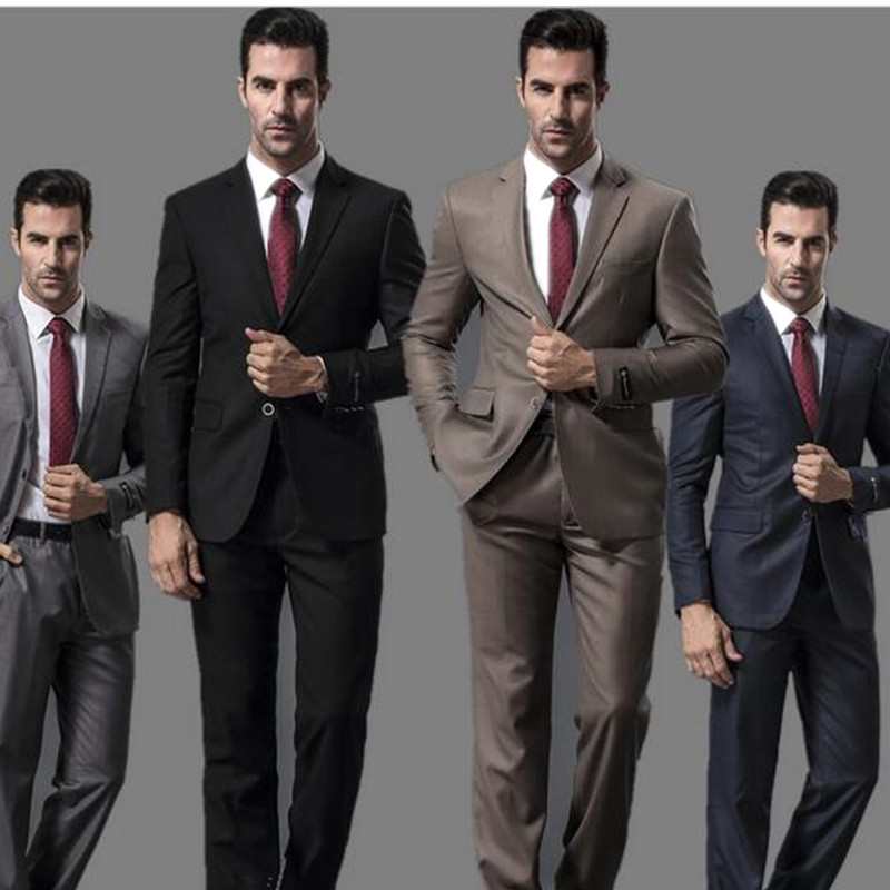 Fashion Men's Classic Lapel Single breasted men's prom dress and business office professional suits (jacket + pants) Custom made