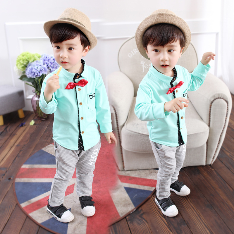 Kids boy sping summer shirt+pants set 2-5y baby boy clothes shirts pants cotton bow tie suits casual children dress clothing