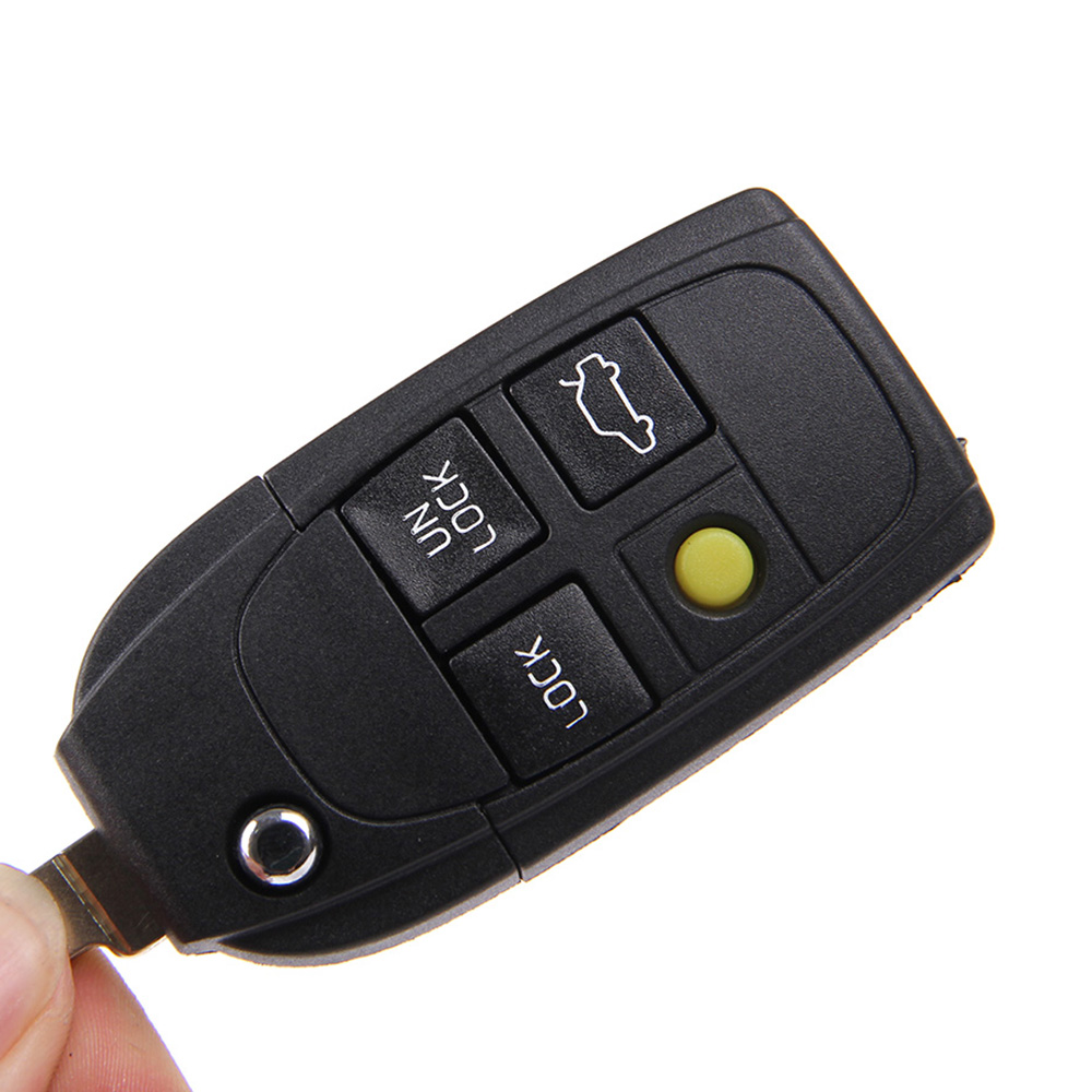 Aliexpress com buy uncut 4 buttons remote case replacement flip folding key shell blank yellow button for volvo from reliable button display case