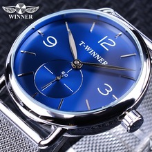 Winner 2019 Fashion Blue Sub Dial Design Silver Mesh Band Mens Mechanical Watches Top Brand Luxury Waterproof Transparent Case