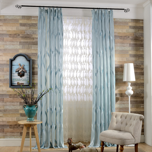Ordinaire Readymade Semi Blackout Bay Window Curtains For Living Room, Interior  Design Blue Brown Door Curtain (single Piece, #LRSONG1801)