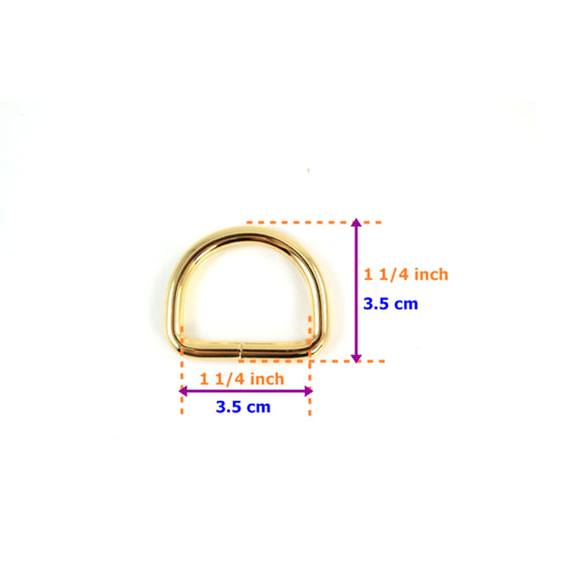 ̀ •́ Chapado en oro no soldado D anillos de 1 1/4 pulgadas (3,5 cm ...