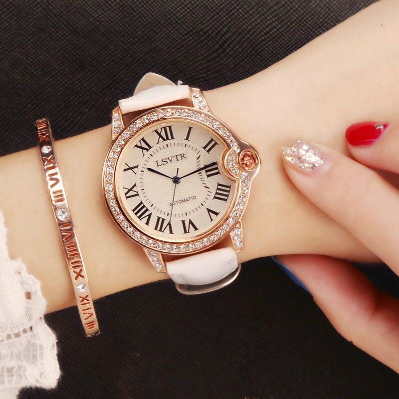 LSVTR 2018 New Fashion Watch Women Rhinestone Casual Quartz Watch Ladies 3M Waterproof Leather Strap Wristwatch drop ship недорого