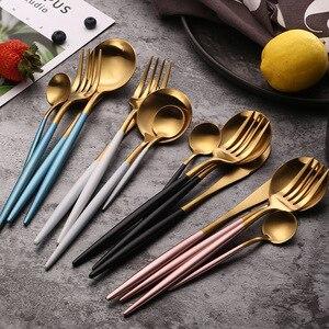 Image 5 - Conjunto de talheres dourados pretos, barato 4pcs conjunto de talheres em aço inoxidável, faca, garfo, conjunto de talheres, utensílios de mesa, conjunto de comida ocidental