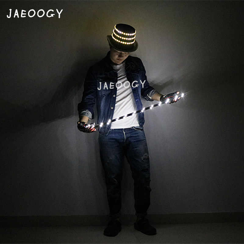 30a0f91b9c0 Free shipping party LED gloves and bar nightclub luminous crutches jazz  dance performance fluorescent hat birthday