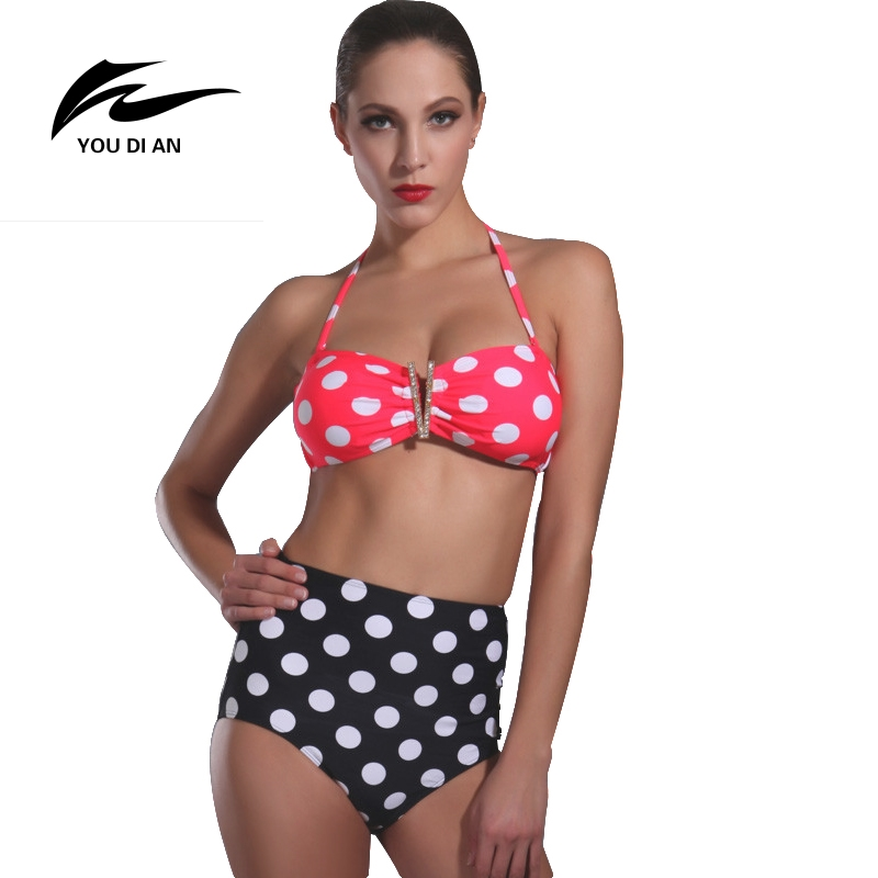 Dot Bikini Set Push Up Swimwear Swimsuit Padded Bra High ...
