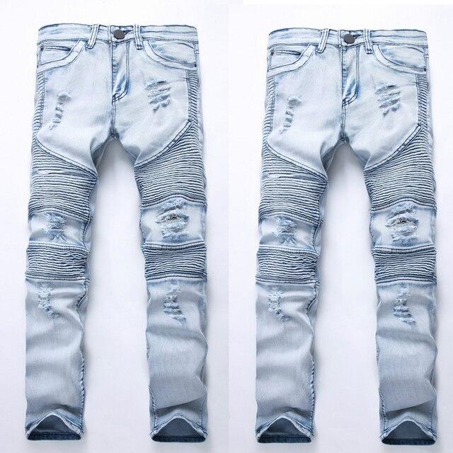 076e6f131df81 Mens Skinny Jeans Rip Slim fit Stretch Denim Distress Frayed Biker Jeans  Boys