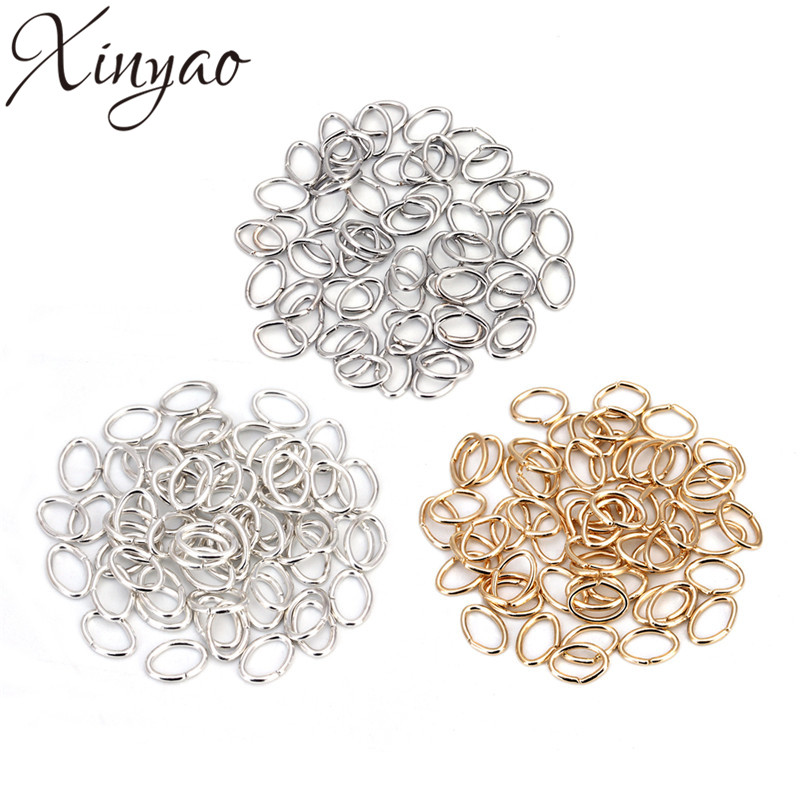 XINYAO 200pcs/bag 5x7mm Metal Oval Open Jump Rings KC Gold/Silver Color Split Rings Connectors For DIY Jewelry Making F5358