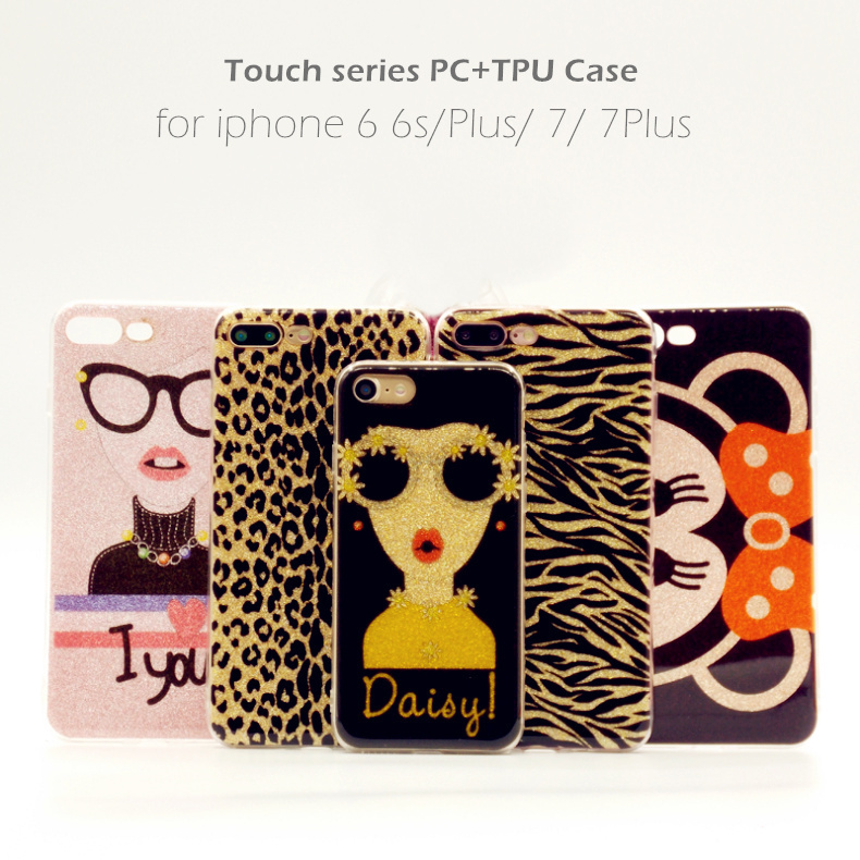 Para el iPhone X 7 más brillante del brillo de Bling del leopardo cebra patrón teléfono casos para el iPhone 8 más 10 TPU suave + PC cubierta trasera del caso