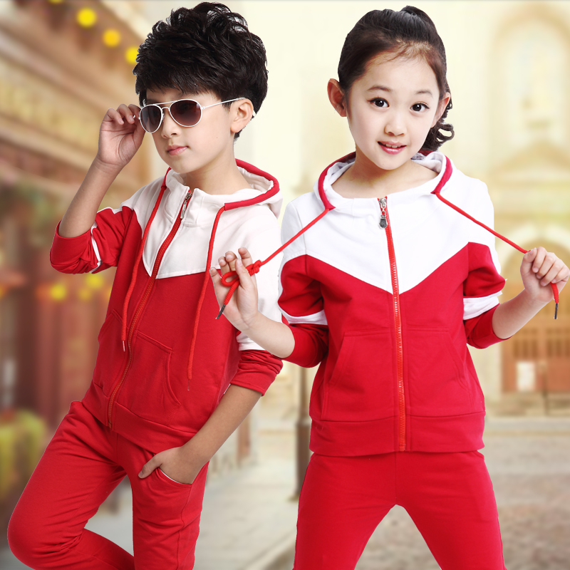 Childrens clothing girl 2018 Korean version of the spring new long-sleeved sports suit in the big boy two-piece suit