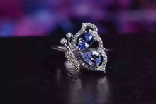 Natural blue tanzanite gem Ring Natural gemstone ring S925 sterling silver trendy Elegant Butterfly fly women girl gift Jewelry