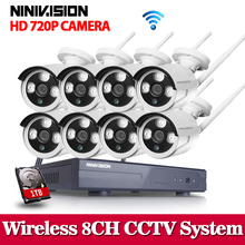 NINIVISION Plug&Play 8CH Wireless NVR Surveillance System 1TB HDD P2P 720P HD IR Outdoor CCTV WIFI IP Security Camera System