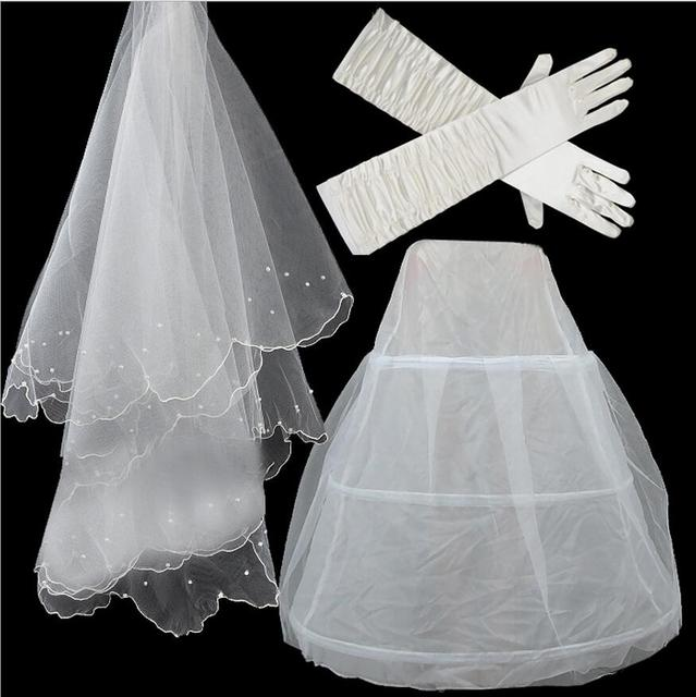 2016 Wedding Accessories Three-piece For Bridal Pearl Wedding Veil + Bride Gloves + The Petticoat Veu De Noiva Longo BV286