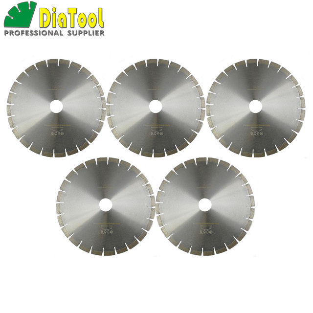 "DIATOOL 5pcs 14"" Diamond Silent Saw Blade Sandwich Steel Core Cutting Disc Bore 50mm Granite Blade Diamond Wheel Disk"