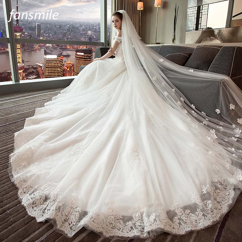 Fansmile Tulle Mariage Vestido De Noiva Lace Wedding Dress 2019 Train Customized Plus Size Wedding Gowns
