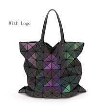 High Quality Luminous Fashion Women Bao Bao Bag Geometry Sequins Plain Folding Bags Handbags New2016 women famous brands Handbag