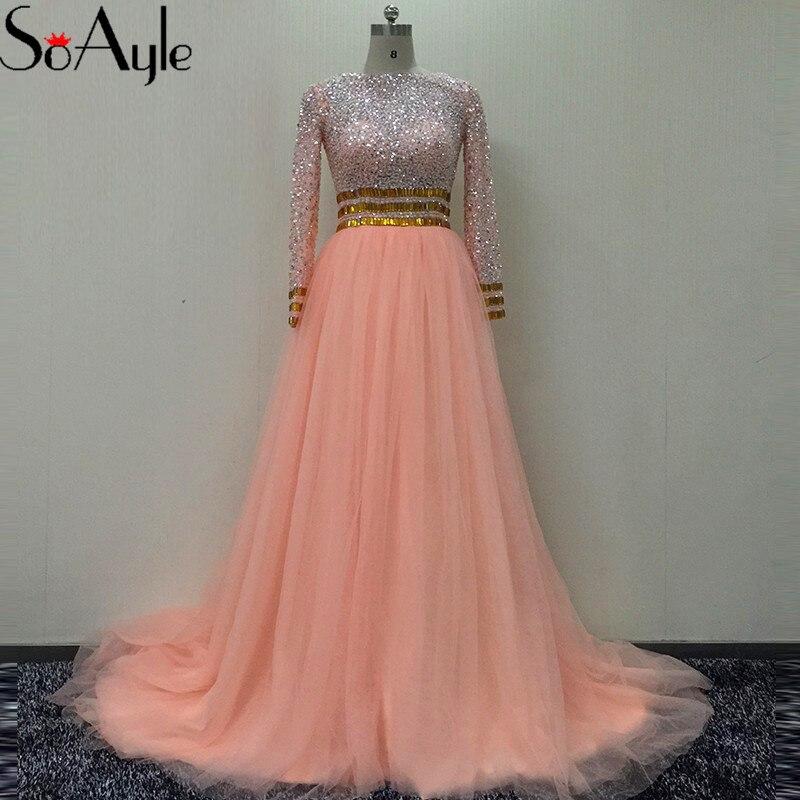 a5edde5cb1 SoAyle A-Line Prom Dresses 2018 Long Sleeves Beading Evening Dresses Open  Back Vestidos De