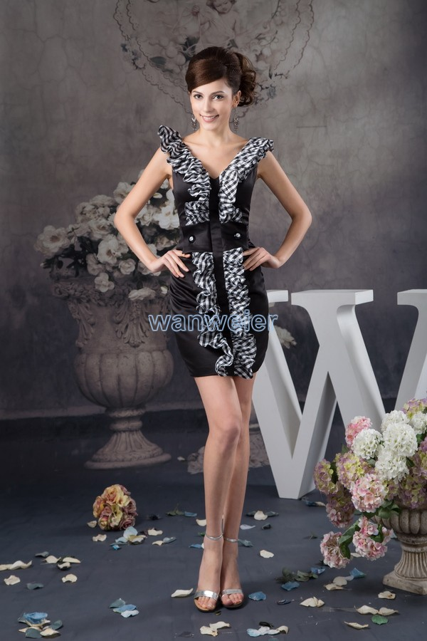 free shipping 2016 design new arrival v-neck real photo hot sale custom size/color sexy short luxury real photo   Cocktail     Dresses