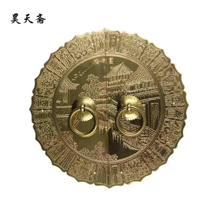 [Haotian vegetarian] bronze antique brass door fittings door shoe HTB-312 antique handle diameter 18CM european modern bronze doors handle chinese antique glass door handle door handle carving