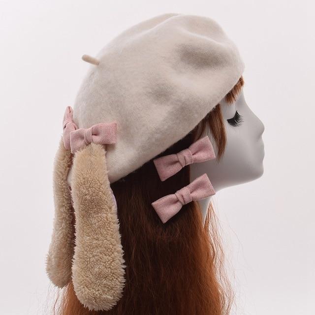 b8f908ae0089f Girls Lolita Beret Handmade Beige Wool Blend Rabbit Lops Ear Bow Hat Beane  Hadwear
