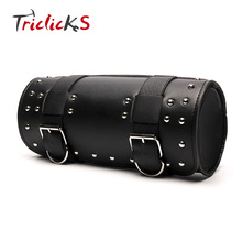 Triclick Universal Motorcycle Bags Black New Saddle Bag PU Leather Roll Solo Saddlebag Luggage Storage Tool Kit