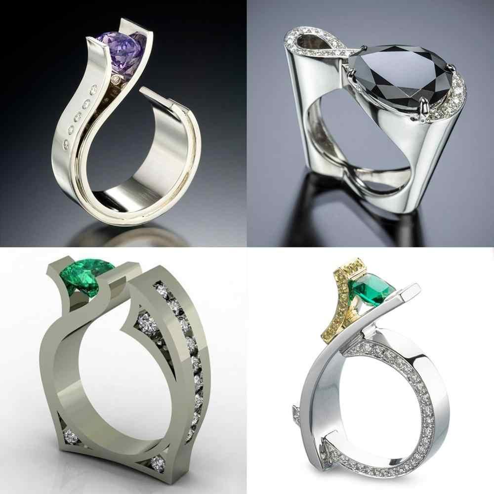 Милое мужское женское черное зеленое пурпурное каменное кольцо роскошное серебряное Золотое обручальное кольцо обещания обручальные кольца для мужчин и женщин