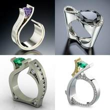 Cute Male Female Black Green Purple Stone Ring Luxury Silver Gold Wedding Rings Promise Engagement Rings For Men And Women(China)