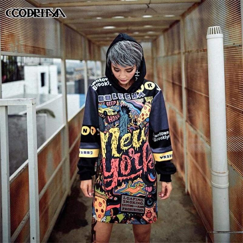 Women Hooded Loose Long Sweatshirt Hoodies Female Casual Full Sleeve Women Pullover Tide hip hop Letter