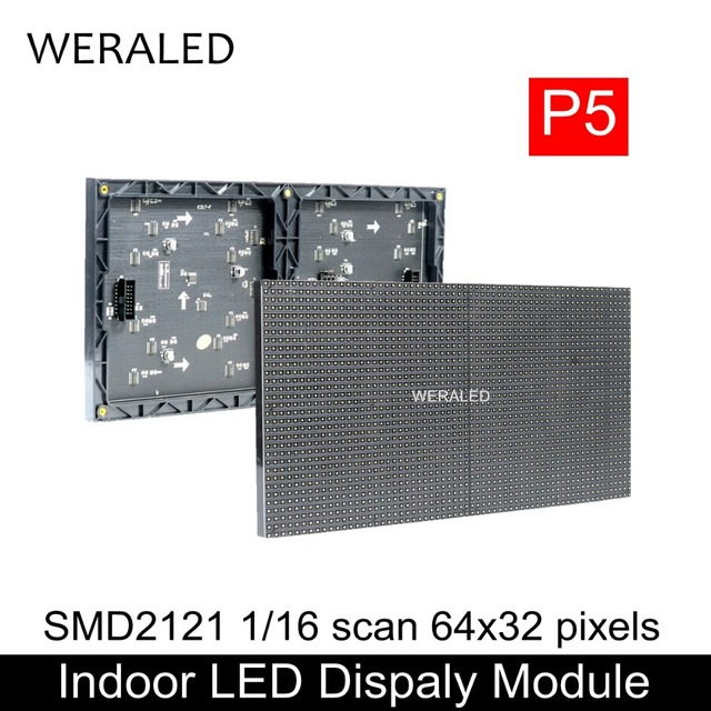 WERALED מכירה לוהטת 64x32 פיקסלים 320x160mm שחור LED מנורת P5 מקורה SMD2121 מלא צבע LED מודול, 1/16 סריקה P5 LED תצוגת לוח