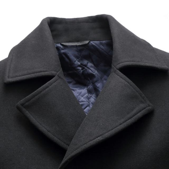 2018 Autumn New Long Excellent Quality Pea Coat Men Slim Turn Down Collar Laine Manteau Double Boutonnage 5