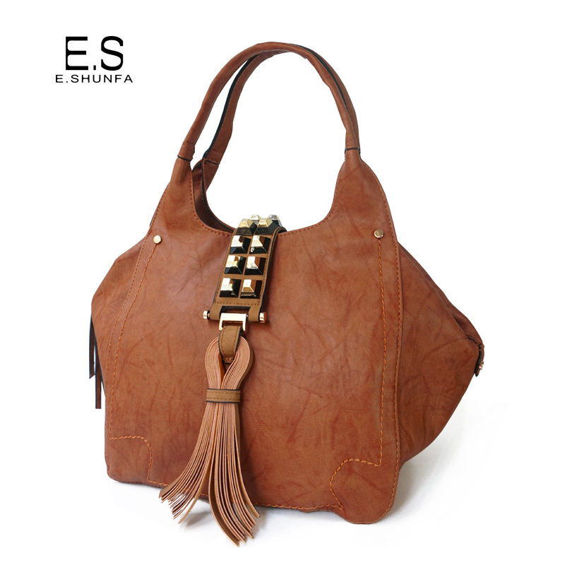 Women PU Leather Handbags With Tassel Rivets 2018 New Fashion Ladies Hand Bags Tote High Quality Zipper Hasp Elegant Handbag elegant pu leather and hasp design women s tote bag