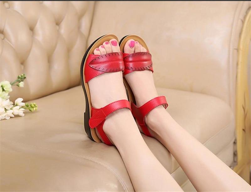 2018 new women sandals genuine leather mother's sandals flat female sandals soft bottom antiskid women sandals plus size 35-41 11