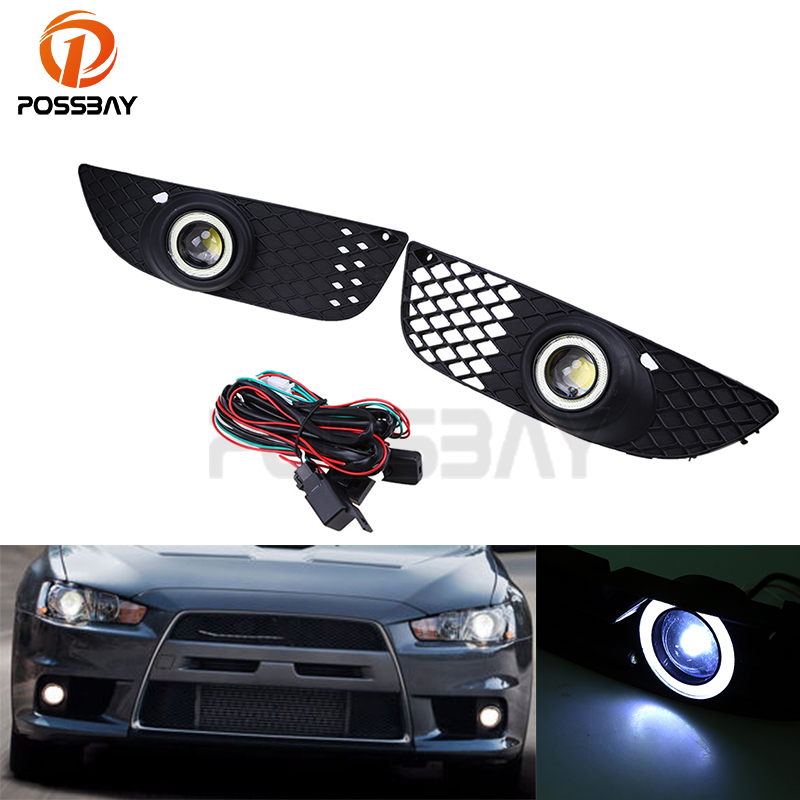 POSSBAY Car Daytime Running Light Foglights LED Angle Eyes Ring Fog Light For Mitsubishi Lancer 2008 2009 2010 2011 2012 front bumper led fog lamp daytime running light replacement assembly 2p for lexus lx lx570 2008 2009 2010 2011