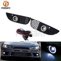 POSSBAY Car Daytime Running Light Foglights LED Angle Eyes Ring Fog Light For Mitsubishi Lancer 2008 2009 2010 2011 2012