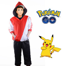 Pokemon Cosplay Costume Adult Pokemon GO Trainer Costume Red Team Valor Uniform Sportswear Hoodie Sweater Tracksuits Outfit