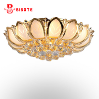 E14 Lotus Flower Modern Ceiling Light With Glass Lampshade Gold Ceiling Lamp for Living Room Bedroom lamparas de techo abajur