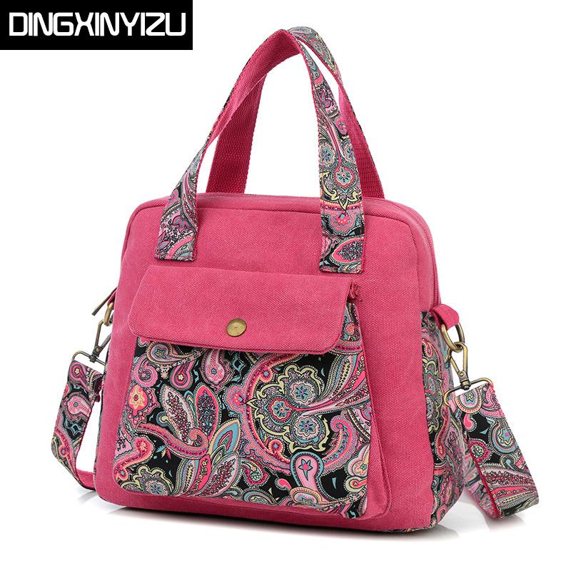 Handbag Ethnic Style Print Flower Canvas Large Tote Shoulder Bag Messenger Bag