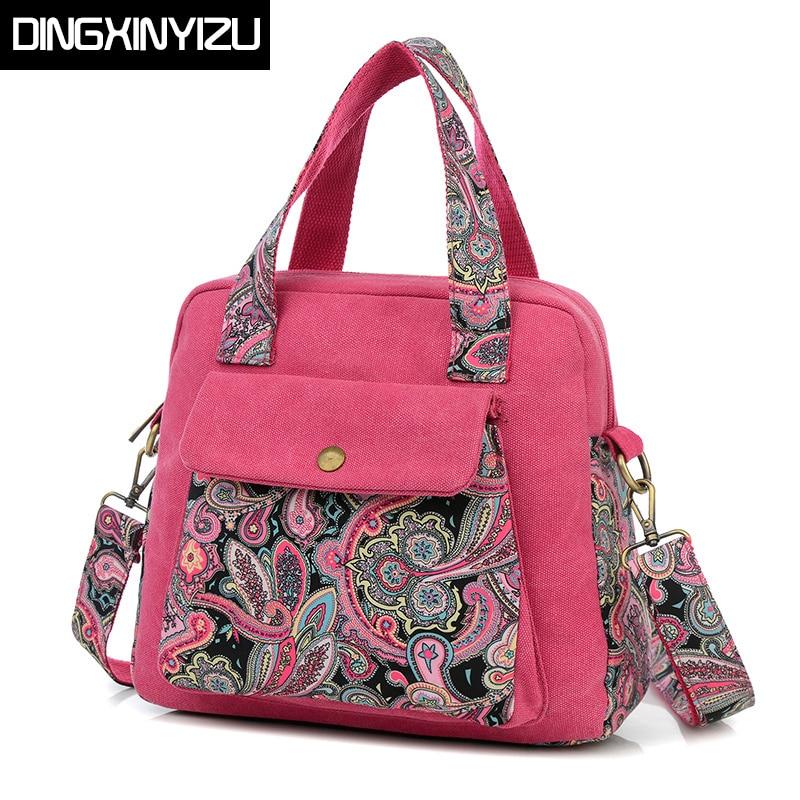 DINGXINYIZU 2017 Top Quality Women Handbag Ethnic Style Print Flower Canvas Large Tote Fashion Shoulder bag Women Messenger Bag cactus print cold shoulder top