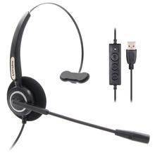 Casque de bureau VoiceJoy avec prise USB casque anti bruit avec Microphone, commutateur de contrôle du Volume pour ordinateurs portables