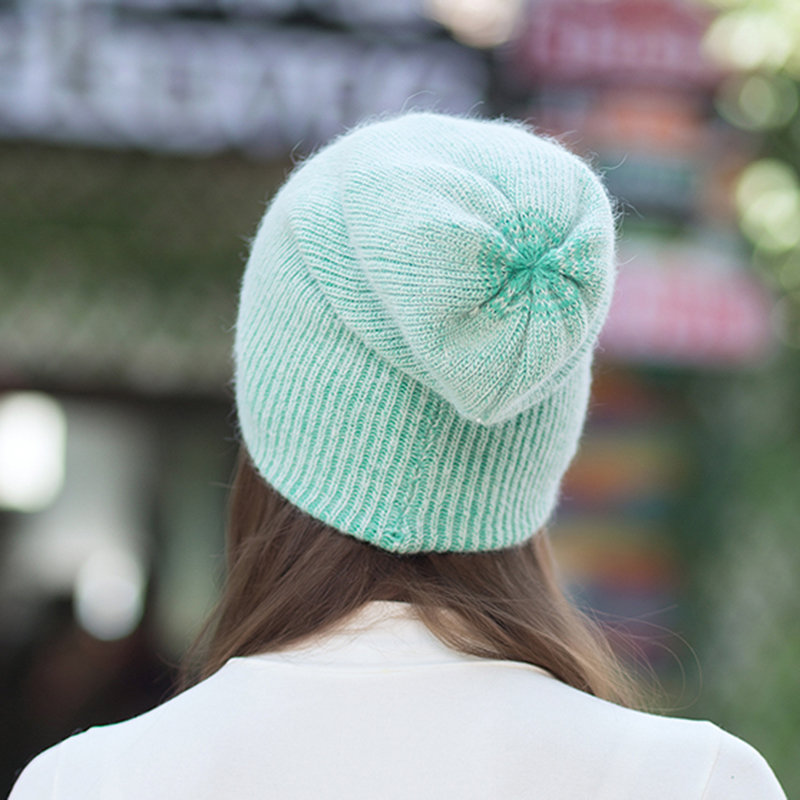 ZJBECHAHMU Hats Spring Fashion Elegant Solid Rabbit Skullies Beanies For Women Girl Winter Wool Warm Baggy Beanies Bonnet Caps in Women 39 s Skullies amp Beanies from Apparel Accessories