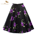 50s 60s Swing Vintage Skirt Sishion Women Summer XXL Plus Size Skirts Black and Purple Rose Floral Skirt falda VD0020P