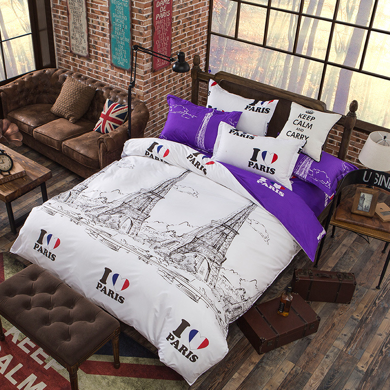 White Color Europe Style Paris Scenic Print Duvet Cover Twin Full Queen Size Bedding Cover Only XF349-1
