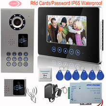 """SUNFLOWERVDP 7"""" Video Doorphone Systems Intercom Door Touch Button Rfid Cards Video Intercom For Private Homes IP65 Waterproof"""