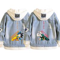 Fashion Anime Dragon Ball Z Denim Jackets Frayed Goten Torankusu Cosplay Hooded Jean Jacket Loose Couples Outerwear Lovers Coat
