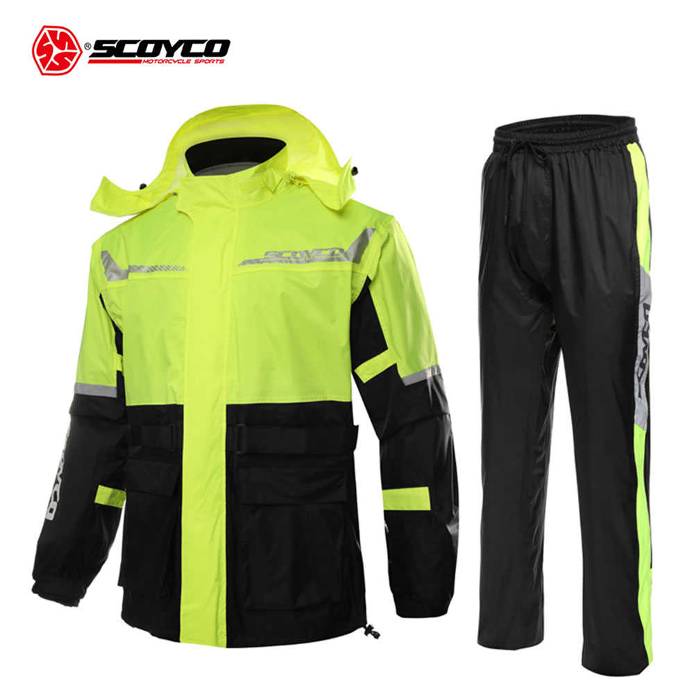 SCOYCO Hooded Motorcycle Raincoat Men Waterproof Motorcycle Jacket Reflector Divided Body Rain Suit Outdoor Motorcycle Clothing